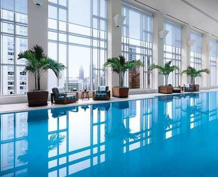 The Peninsula Chicago pool and Fitness Center have floor to ceiling views of the city (Peninsula photo)