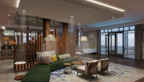 Lobby rendering of The Forester Hotel