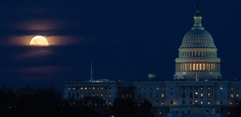 The Moon, or Supermoon, is seen as it rises behind the U.S. Capitol, Monday, March 9, 2020, in Washington, DC. A Supermoon occurs when the Moon's orbit is closest (perigee) to Earth. (Photo courtesy of NASA/Joel Kowsky)