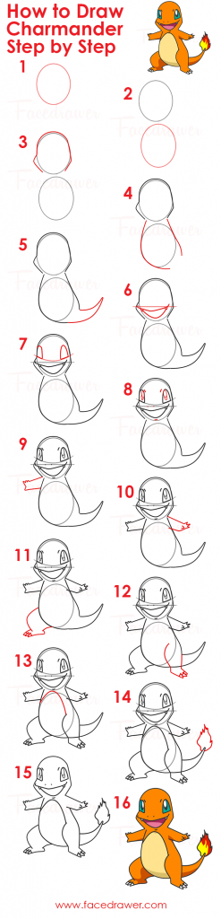 how to draw charmander pokemon step by step infographic