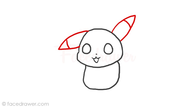 How to draw chibi Pikachu Step 4