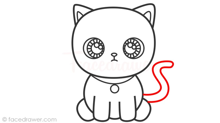 how to draw cute cat step 9