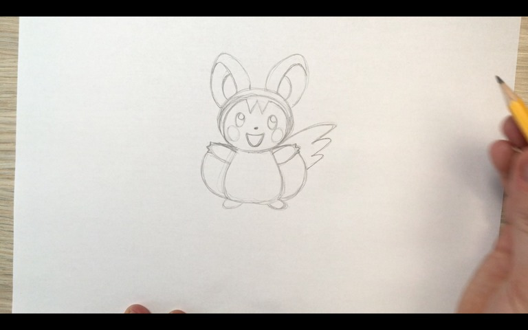 emolga pokemon drawing lesson step 11