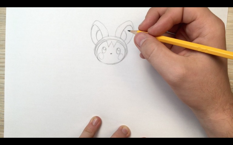 emolga pokemon drawing lesson step 6