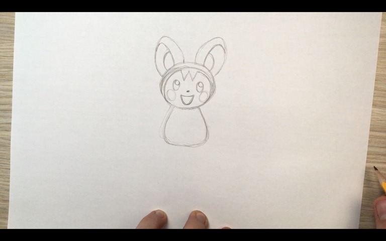 emolga pokemon drawing lesson step 8