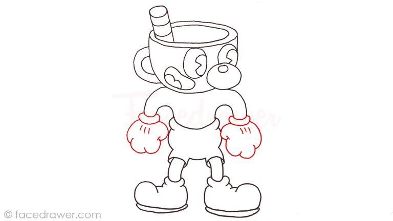 how to draw mugman cuphead step 12