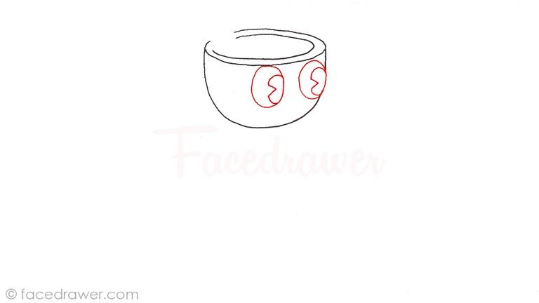 how to draw mugman cuphead step 3