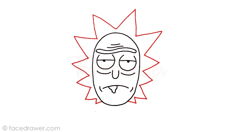 how to draw rick from rick and morty step 7