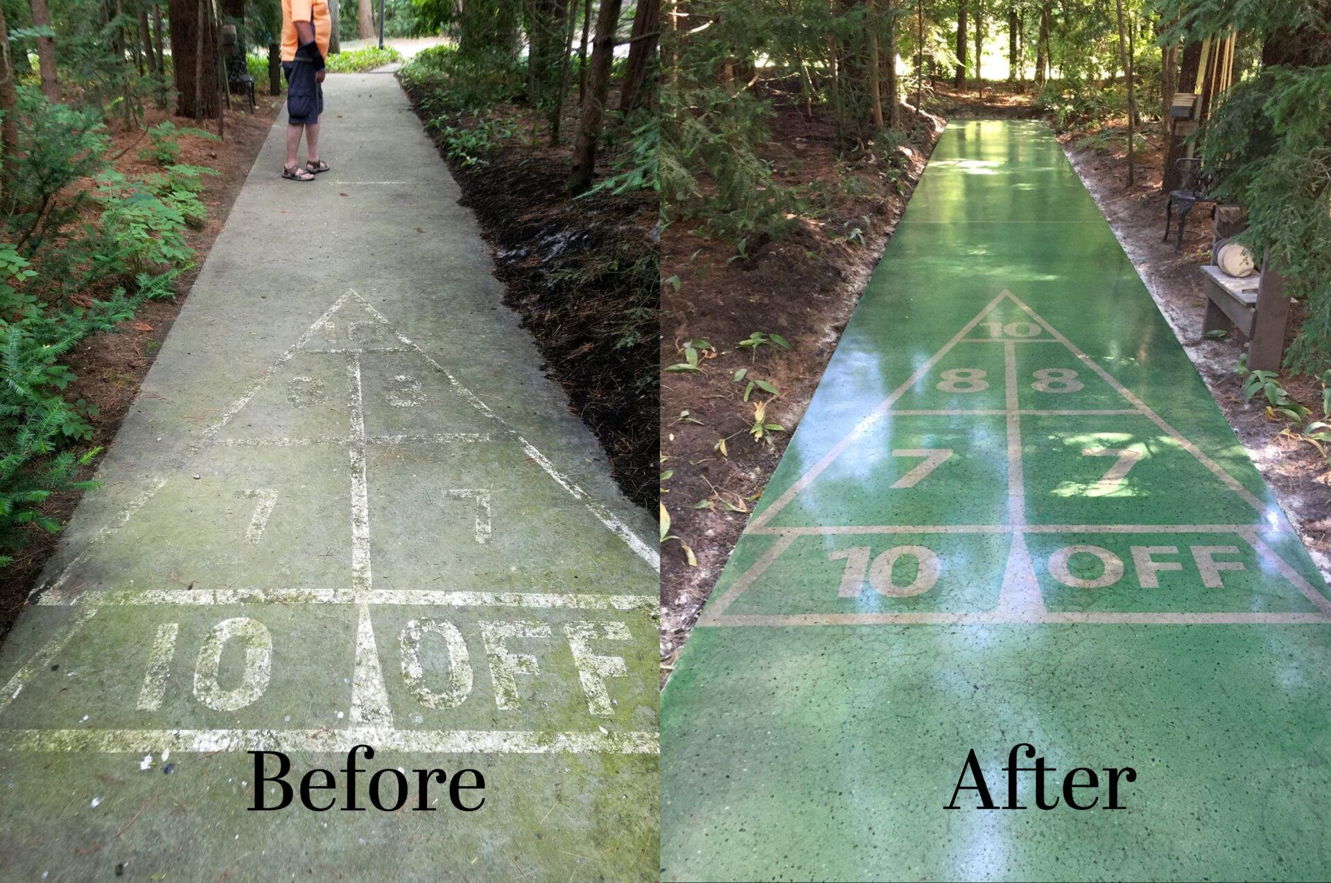 After several years of exposure to the weather and pine trees, this shuffleboard needed some attention. After grinding the court to clean concrete and starting the honing process, a stencil was placed on the slab and stain and densifier were applied. The court was polished to an 800 grit finish, and a guard was applied.