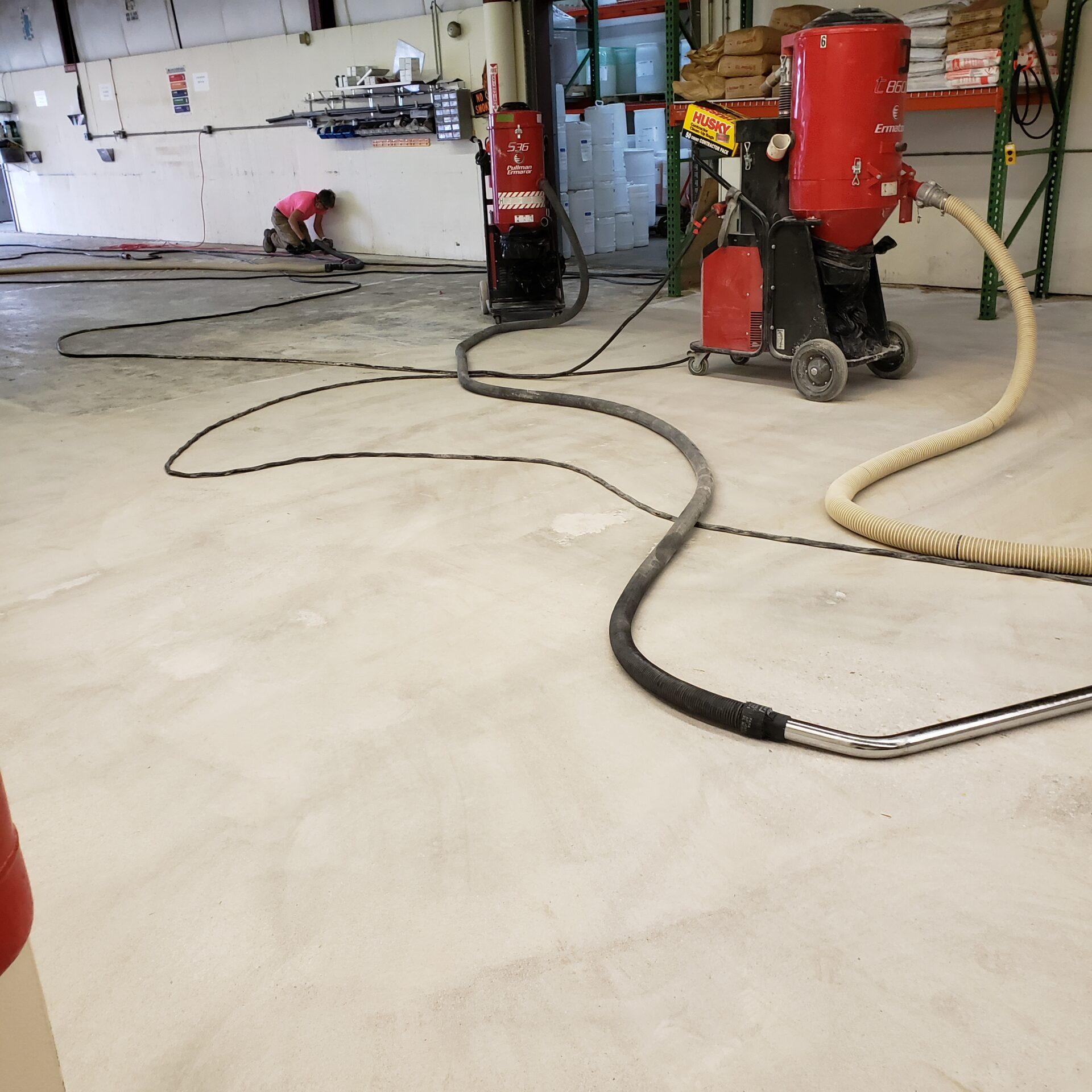 Warehouse surface prep to accommodate coating in Amesbury, MA.