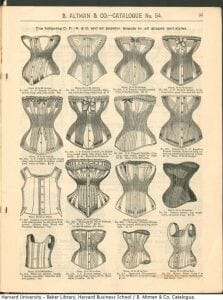 An ad from an old magazine showing different corset styles available for purchase.
