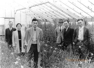 Six people stand in a greenhouse facing forward.
