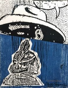 A woodcut print is divided in two. At top, a Lone Ranger-like figure has a speech bubble with symbols on a dotted white background. At bottom is a Native American on a blue backdrop.