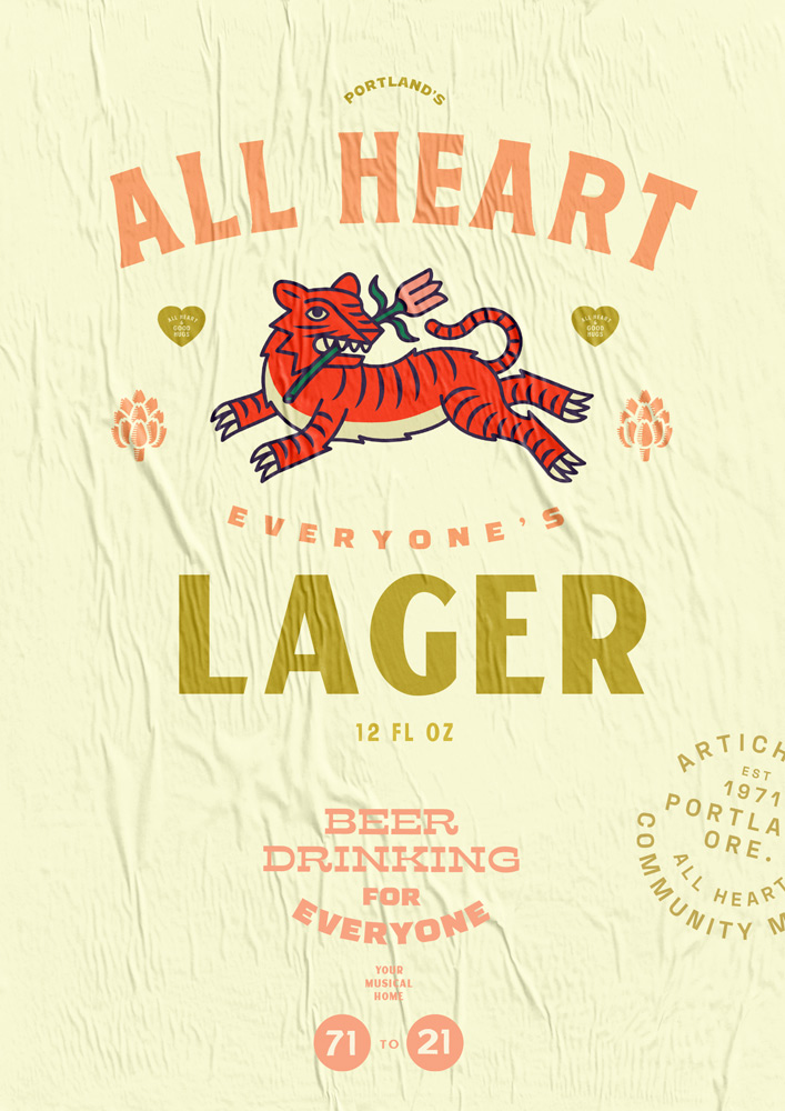 ALL HEART LAGER, ARTICHOKE MUSIC POSTER
