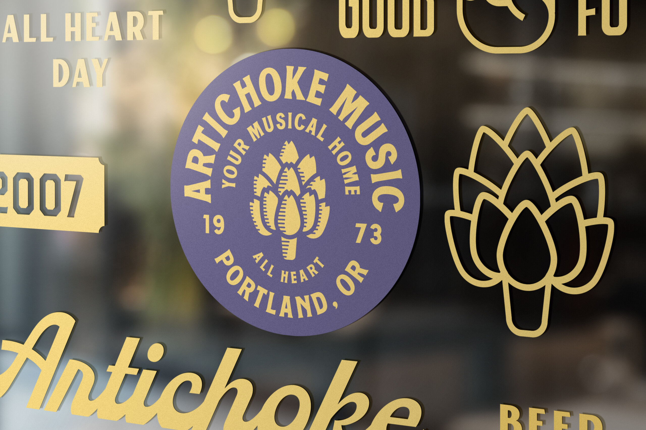 Artichoke Music Window SIgn