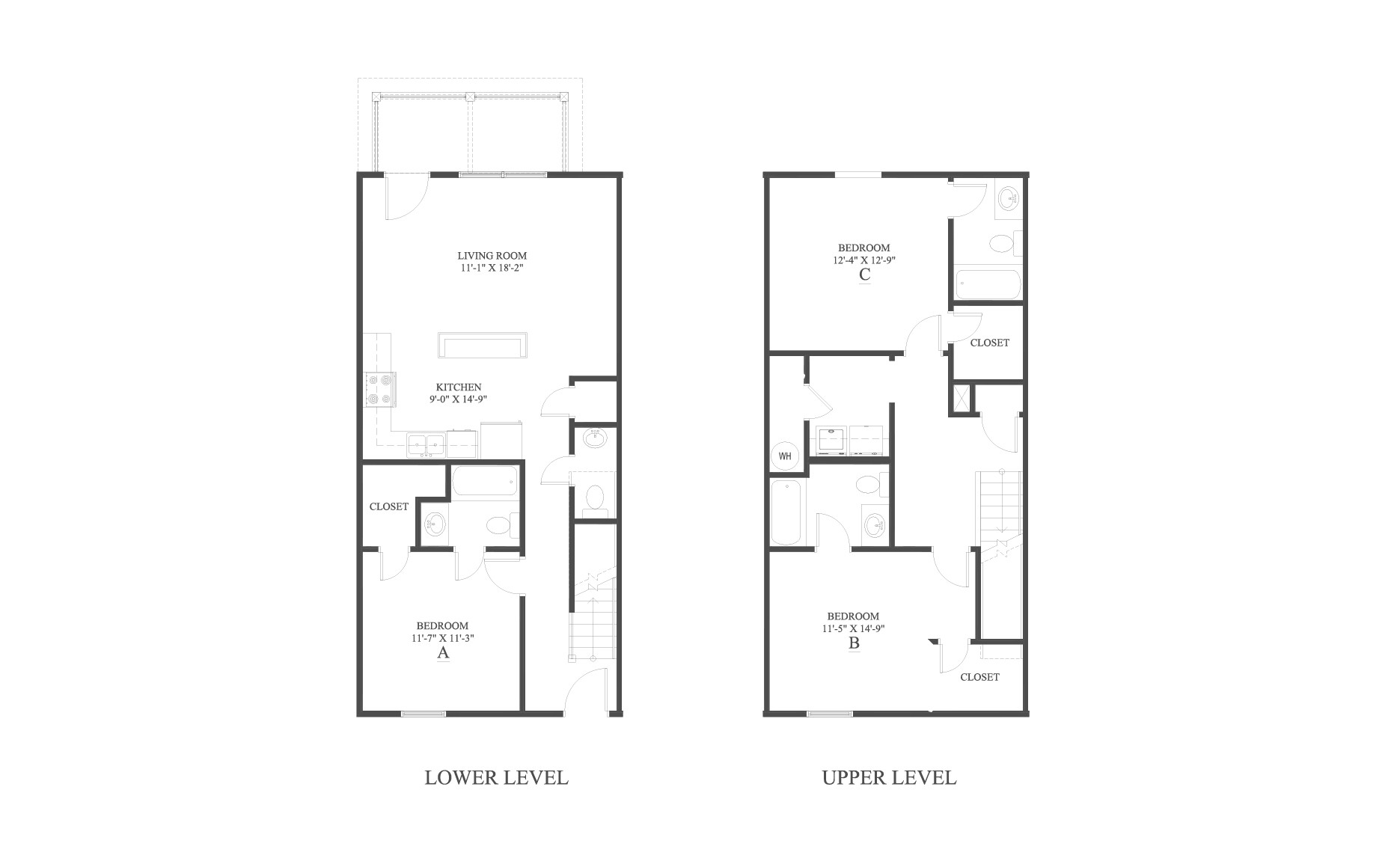 The 3 Townhome Floor Plan is a 3 bedroom home with over 1440 square feet.