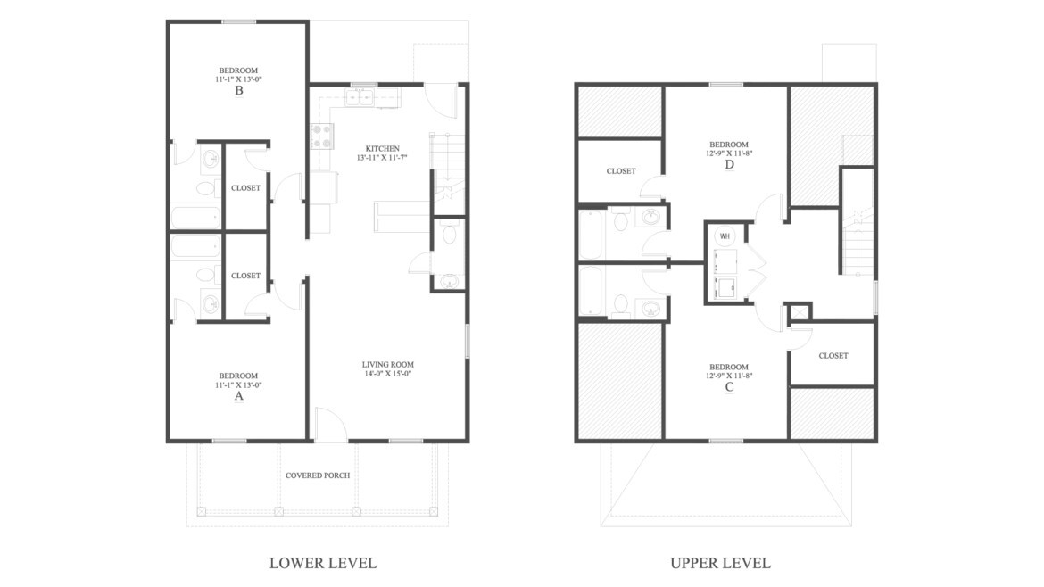 The 4 Cottage B Floor Plan is a 4 bedroom home with over 1752 square feet. campus apartments