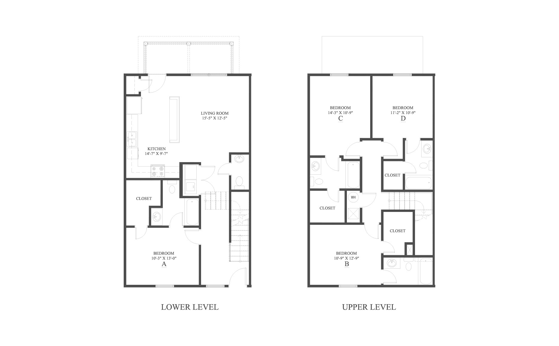 The 4 Townhome Floor Plan is a 4 bedroom home with over 1705 square feet.
