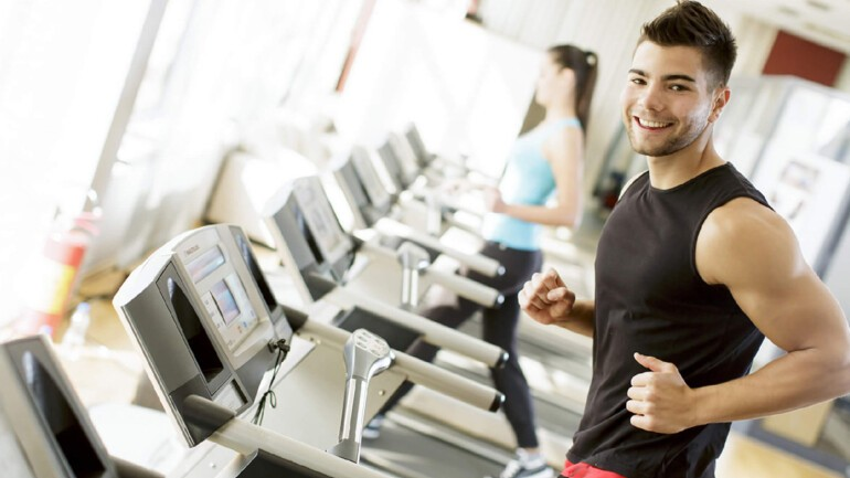 The 24 Hour Fitness Center has treadmills, weights, and more. homes