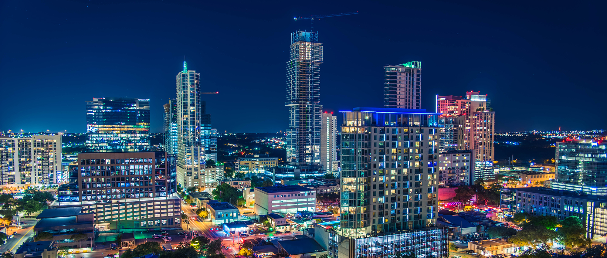 Austin's skyline at night. Shot from the balcony of a hotel downtown