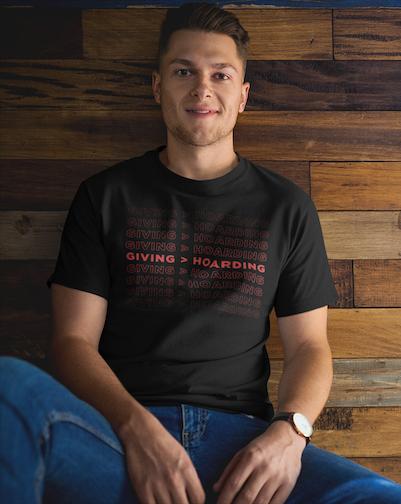 Black/Red Giving is Better than Hoarding Men's T-Shirt