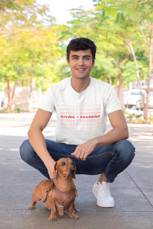 White/Red Giving is Better than Hoarding Men's T-Shirt