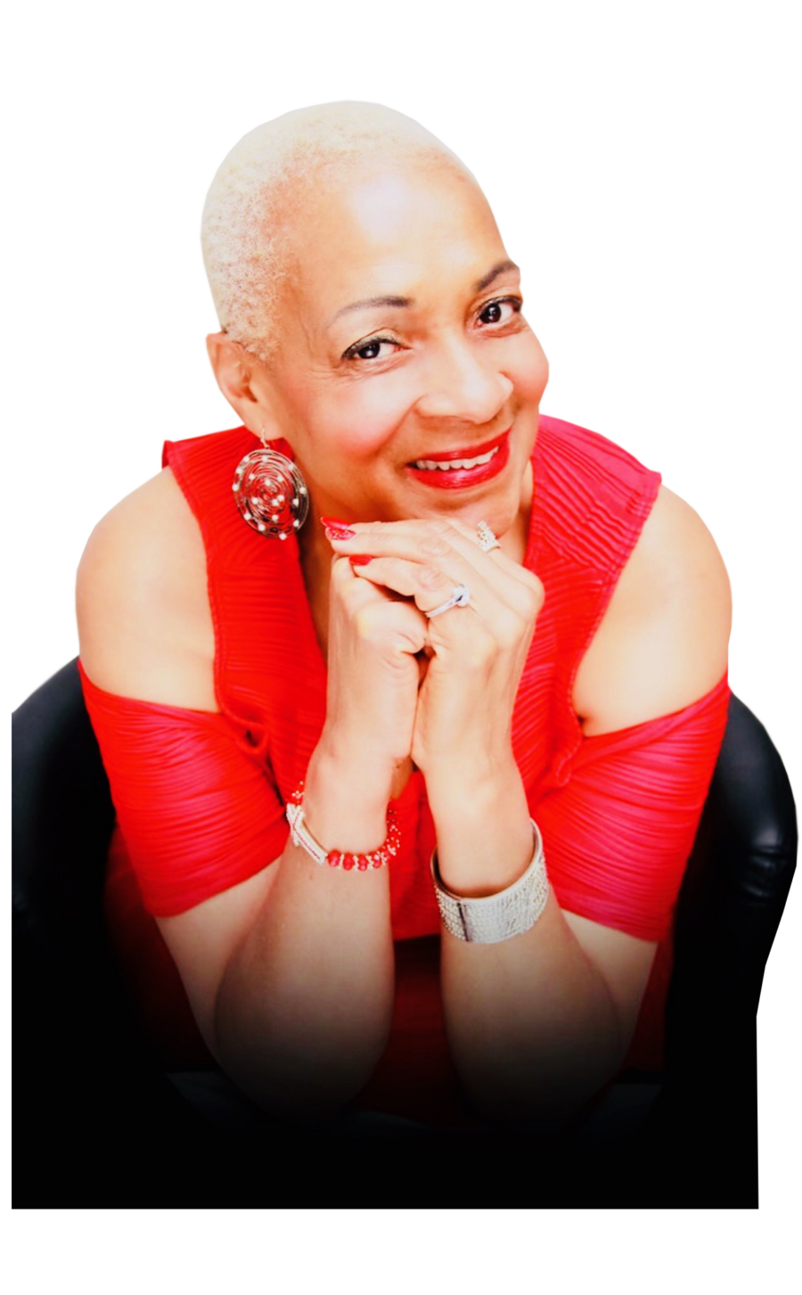 RJ Jackson The Courage Giver Speaker Author Influencer Red w chair