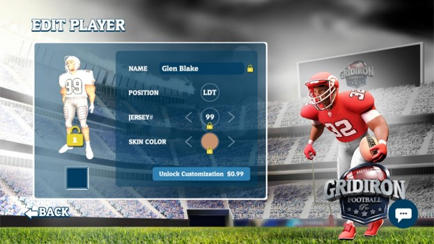Player: edit the players name, position, number, and skin tone once unlocked with purchase
