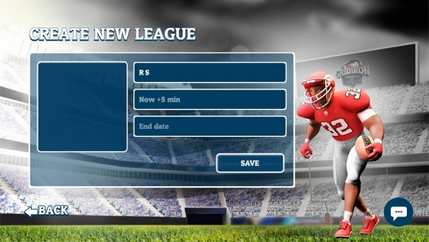 Create your own quick league to play with friends. League name is the users name and the start time is 5 mins after created. User decided end date and time.