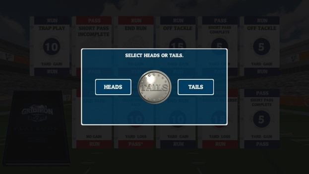 pick heads or tails: winner gets to pick if they want to start on the offense or defense