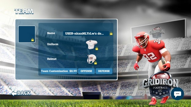 Team: your team customization page once unlocked with purchase