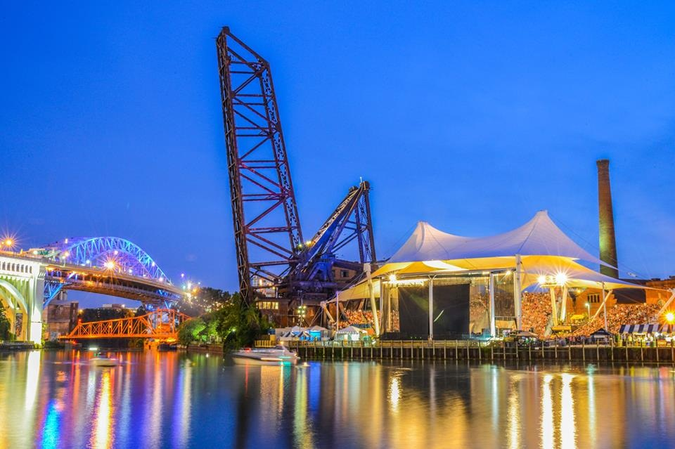 Colorful photo of Jacob's Pavilion lit up at dusk