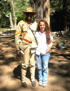 Ranger Shelton Johnson with Student Sevilla Soto in Yosemite