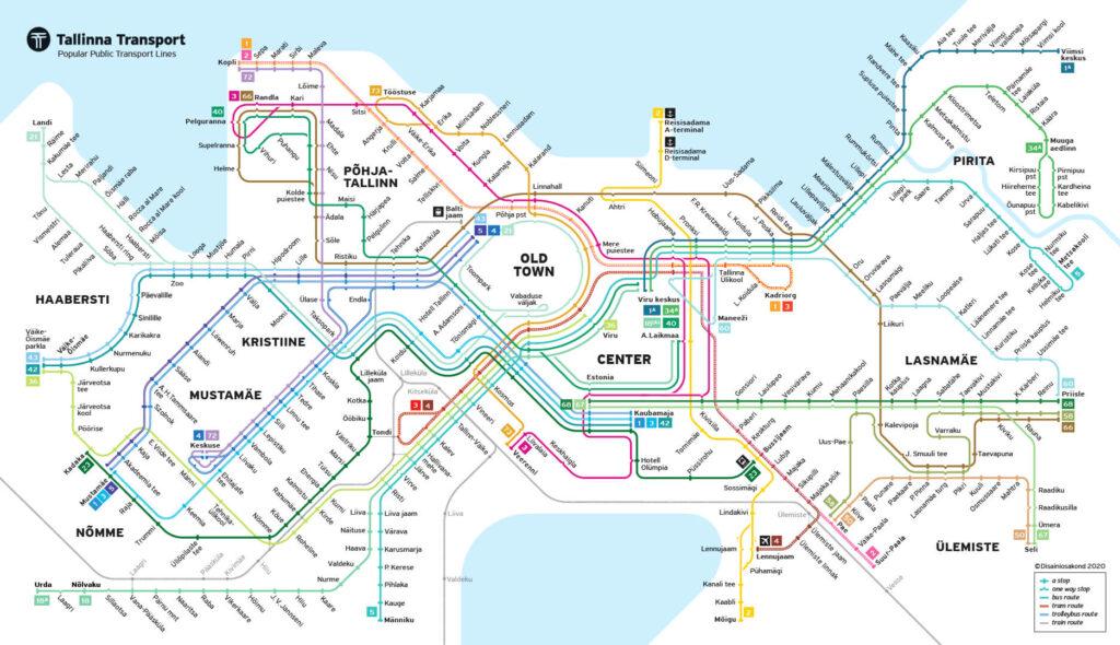 mapa transporte publico Tallinn
