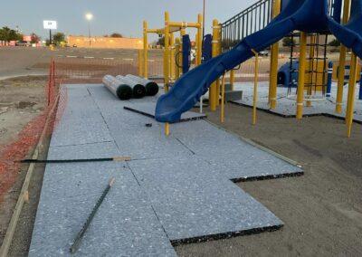 Playground turf with artificial turf padding