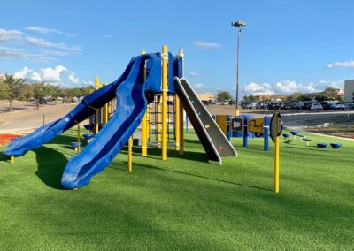 Playground with artificial turf