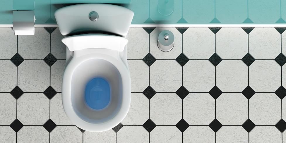 White toilet bowl and brush on white and black tiles floor, top view, copy space. 3d illustration