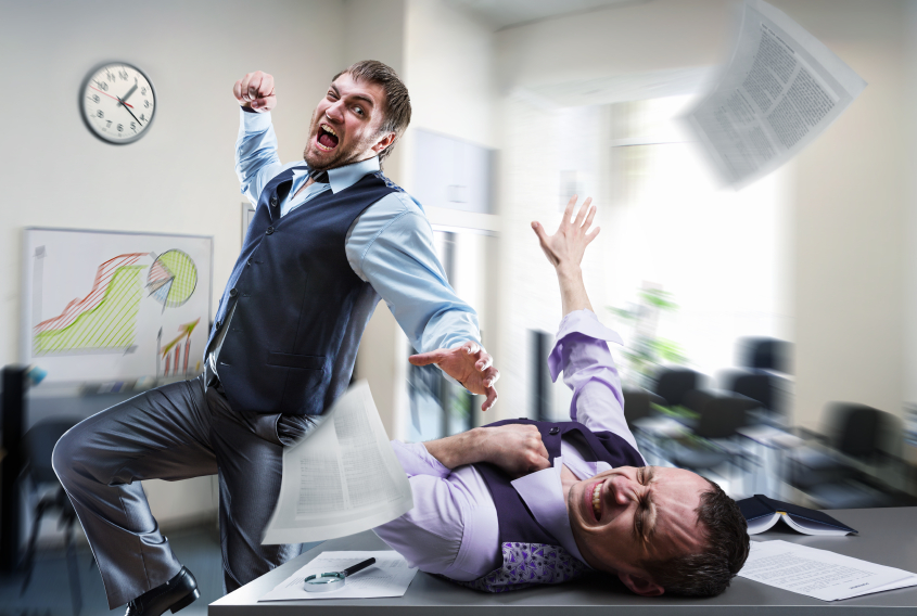 Two aggressive Business Partners fighting in the office