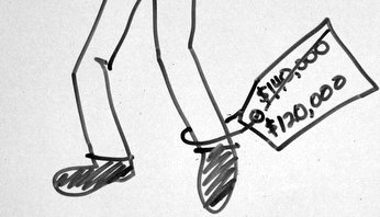 Price Tag Attached to Sketch Man's Leg