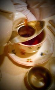 pouring tea strainer