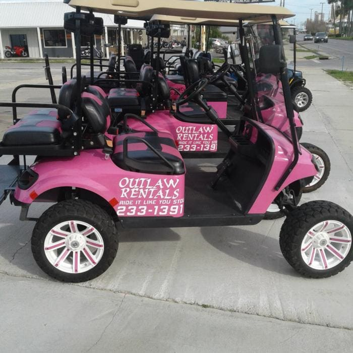 California Cycles - Golf Cart Rentals in Panama City Beach - Gas Powered Golf Cart Rentals 4 seater golf cart rentals red and white