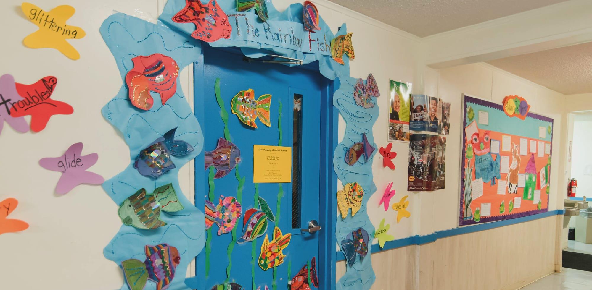 classroom door with decorations