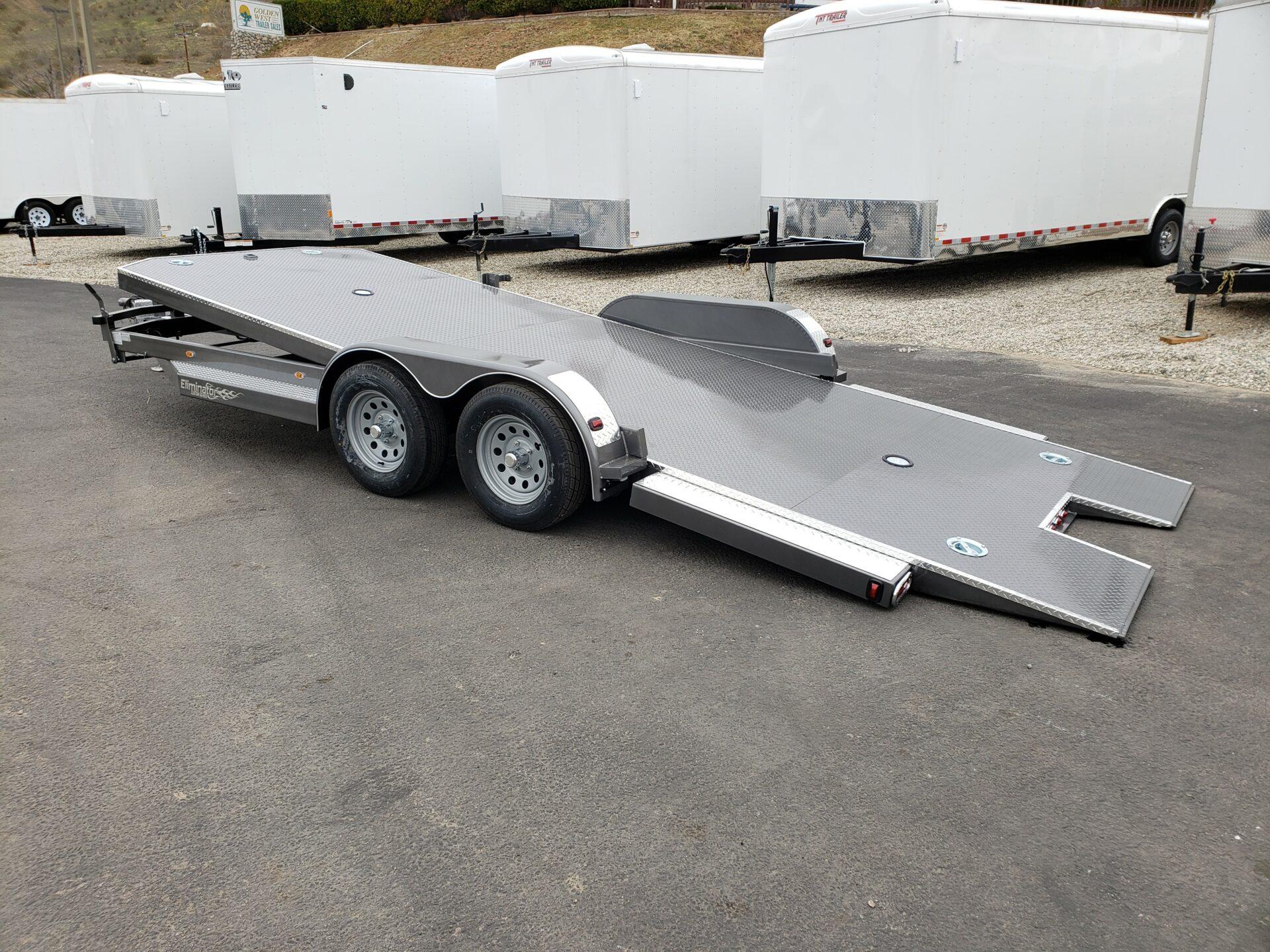 102 Ironworks Eliminator 20ft7K Tilt'A' - Driver side rear 3/4 view bed tilted