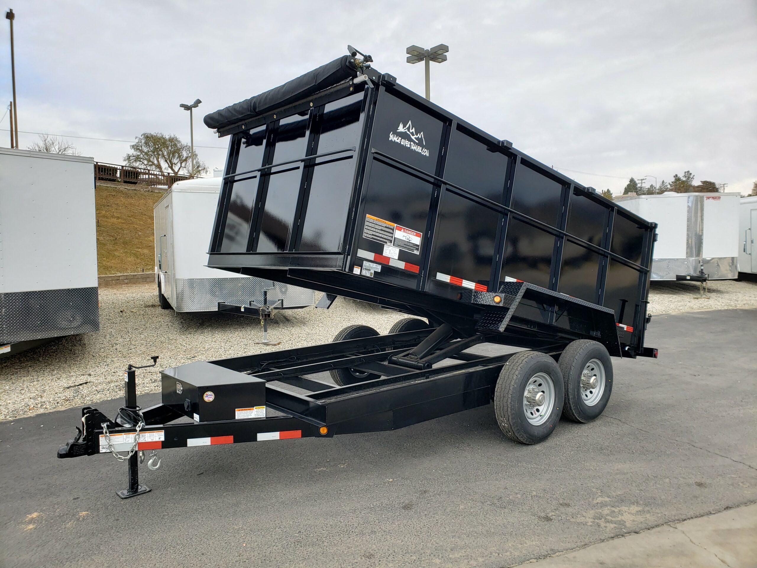 Snake River 7x14 Dump 4ft - Driver side front 3/4 view dump bed up
