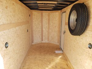 Wells Cargo 5x10 RFV-Nose Ramp - Closeup of rear interior