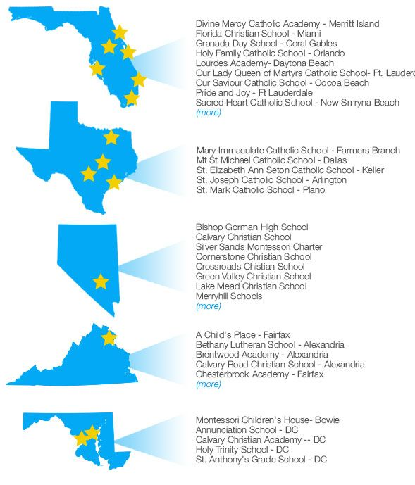 Schools that use United Testing Service. Vegas Schools: Bishop Gorman High School, Calvary Christian School, Coral Academy of Science, Cornerstone Christian School, Crossroads Chistian School, Green Valley Christian School, Lake Mead Christian School, Merryhill Schools, New Horizons Learning Academy, Our Lady of Las Vegas Catholic School, Quest Academy, St. Anne Catholic School, St. Elizabeth Ann Seton Catholic School, St. Francis de Sales Catholic School, St. Viator Catholic School, Shenker Academy, Southern Highlands Prep School, Springstone Montessori School, Springstone Lakes Montessori School. Texas Schools: Mary Immaculate Catholic School in Farmers Branch, Mt St Michael Catholic School in Dallas, St. Elizabeth Ann Seton Catholic School in Keller, St. Joseph Catholic School in Arlington, St. Mark Catholic School in Plano. Florida schools: Divine Mercy Catholic Academy in Merritt Island, Florida Christian School in Miami, Granada Day School in Coral Gables, Holy Family Catholic School in Orlando, Lourdes Academy in Daytona Beach, Our Lady Queen of Martyrs Catholic School in Ft. Lauderdale, Our Saviour Catholic School in Cocoa Beach, Pride and Joy in Ft Lauderdale, Sacred Heart Catholic School in New Smryna Beach, St Andrew Catholic School in Cape Coral, St. Jerome Catholic School in Ft Lauderdale, Sts. Peter and Paul Catholic School in Miami, St. Paul Catholic School in St. Petersburg. Virginia Schools: A Child's Place in Fairfax, Bethany Lutheran School in Alexandria, Brentwood Academy in Alexandria, Calvary Road Christian School in Alexandria, Chesterbrook Academy in Fairfax, Chesterbrook Montessori in Arlington, County Christian School in Ashburn, Engleside Christian School in Alexandria, Imagination Center in Chantilly. Washington, DC schools: Annunciation School, Calvary Christian Academy, Holy Trinity School, St. Anthony's Grade School. Maryland schools: Montessori Children's House in Bowie
