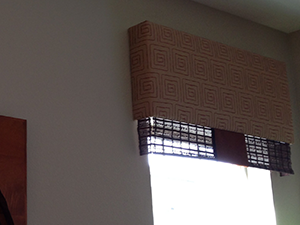 cornice with wood woven accent