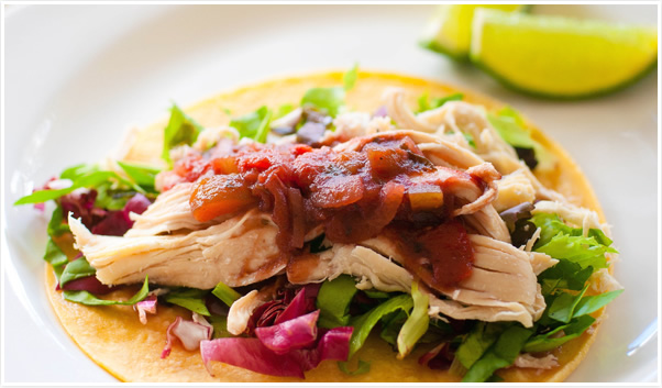 chicken taco with grape salsa