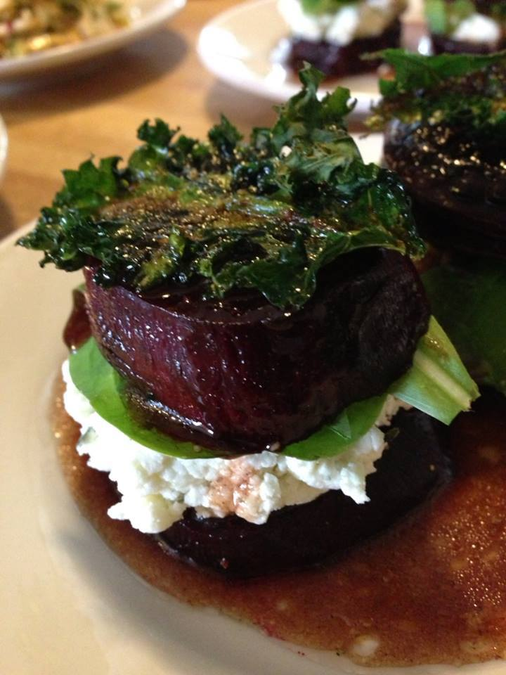 Roasted Pepper, Goat Cheese and Beet Salad