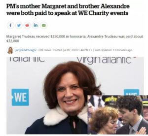 加拿大总理特鲁多母亲接受出场费